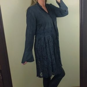 faux suede jacket lace bell sleeve knee length